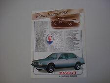 advertising Pubblicità 1985 MASERATI BITURBO 420