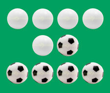 10 Foosballs: 5 White Smooth & 5 Black & White Engraved Table Soccer Balls