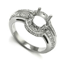 PAVE  DIAMOND ENGAGEMENT RING SEMI-MOUNT 14K WHITE GOLD #R880