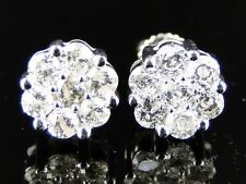 1Ct 14K Mens Ladies Cluster 7 Stone Diamond Stud Earrings