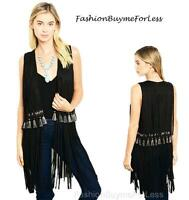70'S BOHO Hippie Western Black Faux Suede Tassel Fringed Cardigan Vest S M L XL