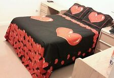 Valentine's Red & Black Hearts Theme Queen Size Duvet Cover Set Reversible
