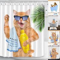 Room Decor Bathroom Curtain Cartoon Dog Cat Printed Shower Waterproof Curtain