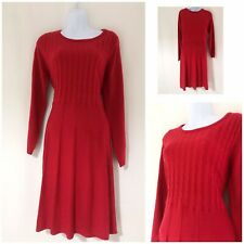Women's Jumper Dress Size 14 Warm Winter Jersey Fabric Cosy Casual Red Knitted