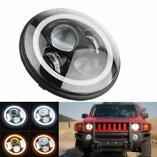 "1pc 7"" CREE LED Headlight White Halo Ring DRL/Amber Turn Signal Jeep Hummer"