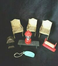 7 Miniature Doll House Décor Chairs, Bench, Lanterns, Paper Towel Rack & Phone