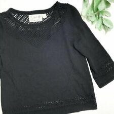 FIELD FLOWER size Small Petite black perforated sweater