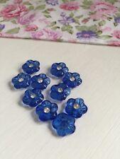 10 Psc 15mm Sapphire blue coat rhinestone acrylic buttons  (294)