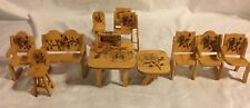 Youth Girls 16 Piece Wooden Floral Rose Etching Doll House Bed Table Accessories
