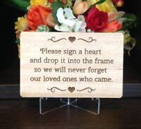 Instruction Sign for Drop Box, Guest Book Alternative, Timber with bonus stand