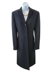Ann Taylor Size 6 Black Midi Front Button Duster Career Blazer Jacket