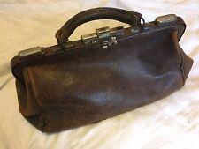 Vintage Brown Leather Doctors Gladstone Bag Antique