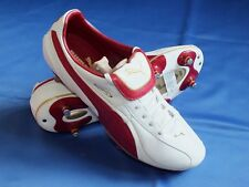 New Puma Retro Soft Ground Grass White Red & Gold Leather Football Boots UK 9
