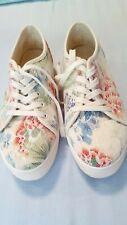 Plateau-Canvas-Schuhe, Sneaker, weiß mit Blumenmuster, Gr.41