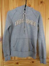 Abercrombie Juniors Girls Large Hoodie Sweatshirt Zipper & Pocket Gray EUC!