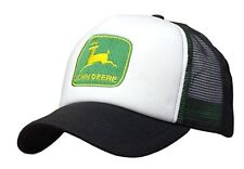 JOHN DEERE *BLACK & WHITE FOAM MESH TRUCKER* Trademark Logo HAT CAP *BRAND NEW*