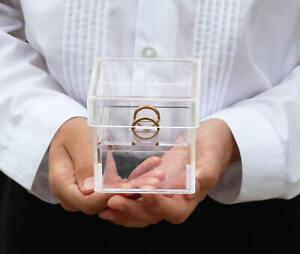 WEDDING RING BOX ACRYLIC RING BEARER PILLOW PAGE BOY BEST MAN ENGAGEMENT