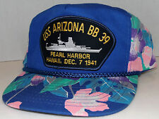 USS Arizona BB 39 NAVY Pearl Harbor Hawaii Vintage Floral Design Snapback Hat