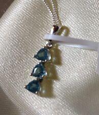 3/4 Ct, AA, Paraibe Apatite Pendant, 3 Stone, Platinum Overlay Sterling Silver