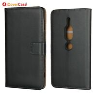 Genuine Leather Flip Wallet Case Cover For Sony Xperia XZ2 / XZ2 Compact