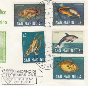(85948) San Marino Used Marine Life Fish 1966 ON PIECE