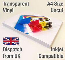 BULK A4 Clear Transparent Vinyl Inkjet Print Glossy Self Adhesive Stickers Label 1