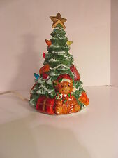 "8 1/2"" Tall Ceramic Lighted Christmas Tree Colored Bulbs"