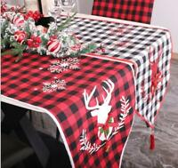 US! Christmas Plaid Table Runner Tablecloth Cover Xmas Party Kitchen Décor