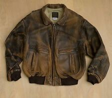 vtg 90s Avirex US Navy Type G-2 Leather Bomber Flight Jacket Coat Distressed XL