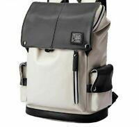Man Backpack PU Leather USB Recharging Laptop School Bag Waterproof Travel Bag