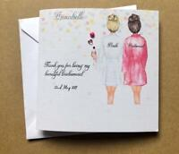 Thank you for being my Bridesmaid / Maid of Honour Handmade & Personalised Card