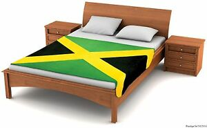 "Fuzzy Flags™ Jamaican Flag Fleece Blanket 80""x50"" Oversized Throw Cover Jamaica"
