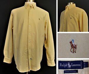 Ralph Lauren - Men's L/S Oxford Dress Shirt - 16.5 - 36 - Light Yellow - Flawed