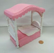 PLAYSKOOL Dollhouse PINK SINGLE CANOPY POSTER BED for Loving Family Doll