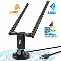 1200Mbps WiFi Adapter,Dual Band USB WiFi Adapter (5.8G/867Mbps+2.4G/300Mbps)