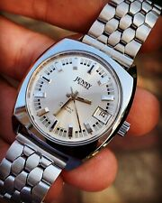 Vintage Jenny Hand-winding Mens Watch White Dial 35mm Swiss Made