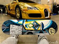 """(2) Treasure Painting JR Bissell """"Loot is a Lie"""" Pirate Pablo Picasso Skateboard"""