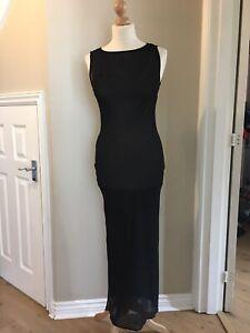 Mint VELVET ladies Long dress, size 8, Polyester, Black, See Through Skin Dress