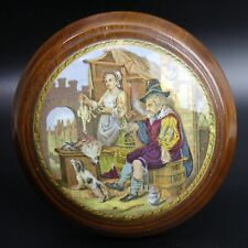 More details for victorian mahogany framed coloured pratt ware pot lid 'the poultry woman' c.1870