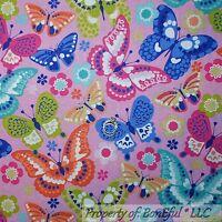 BonEful Fabric FQ Cotton Quilt Pink Aqua Blue White BUTTERFLY Purple Flower Dot