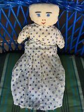 Antique / Vintage Folk Doll Cotton Rag Doll w/ Polka Dot 2 Piece Dress