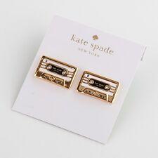 Kate Spade Gold Jazz Things Up Cassette Stud Earrings New