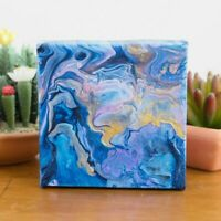 4x4 Blue Purple Acrylic Pour Abstract Fluid Art Painting on Canvas