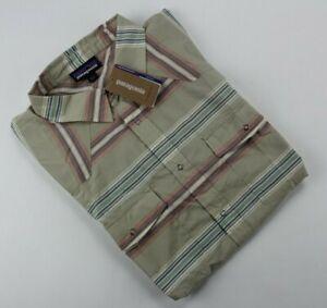 New Patagonia Men's Large Bandito Tarkine Stripe El Capo Khaki Shirt $89 Sz L