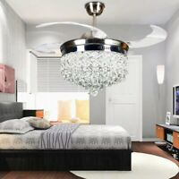 "42""Chrome Crystal 3-Color LED Light Chandelier Remote Invisible Ceiling Fan Lamp"