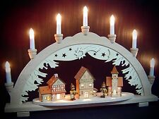 3D Arc à lumière à bougies winterstadt avec 2 figurines 10 lumières 57 cm 10169