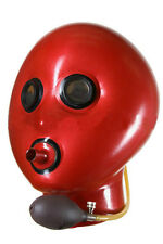 Inflatable latex hood with breath pipe and mirror eyes, gummy rubber mask