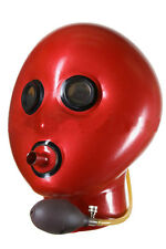 Inflatable latex hood with breath pipe and mirror eyes, gummi rubber mask