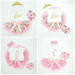 Baby Girls 1st First Birthday Outfit Princess Tutu Skirt Cake Smash Set Age 1 UK