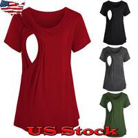 Pregnant Women Maternity Clothes Summer Casual Nursing Breastfeeding T Shirt Top